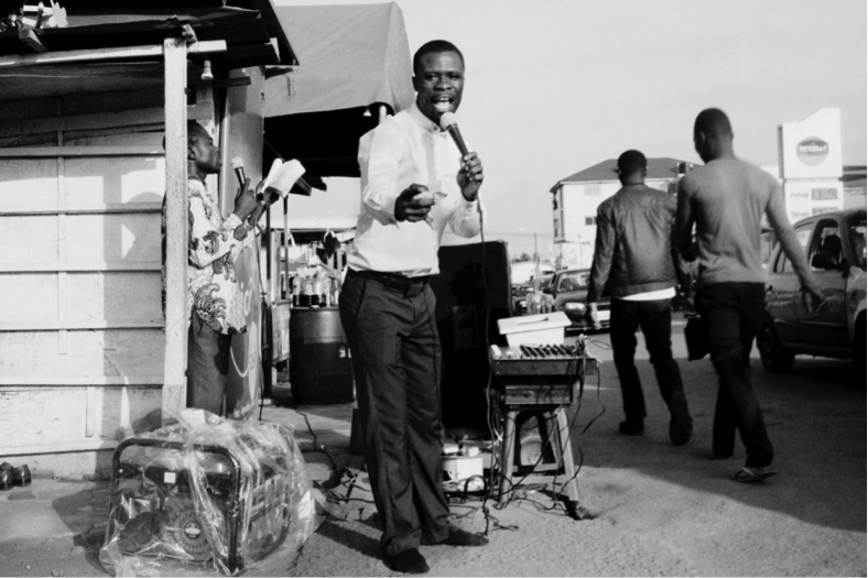 "Street preacher in Accra. From the exhibition ""Spirit Places//Åndesteder."" Photo: Nii Obodai."